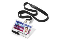 Card holder PUSHBOX DUO with textile lanyard