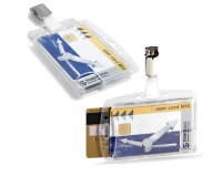 DUAL ENCLOSED SECURITY PASS HOLDER WITH CLIP FOR 2 ID CARDS