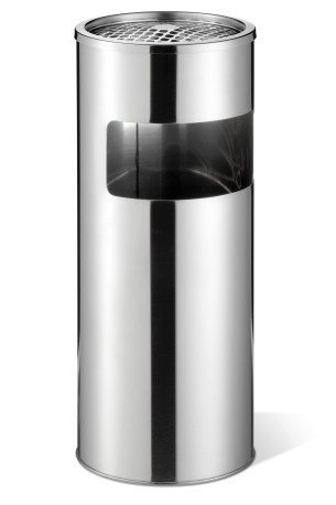 Waste basket stainless steel with ashtray round