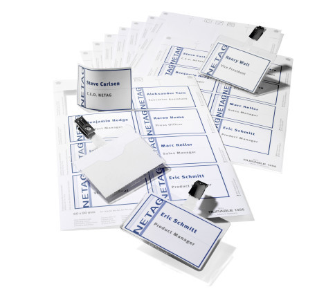 Name badge set with clip 60 x 90 mm durable for Porte badge 60 x 90